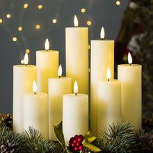 3D flame smooth D5 pillar flat ivory paraffin wax timer remote battery operated holiday led candle flameless