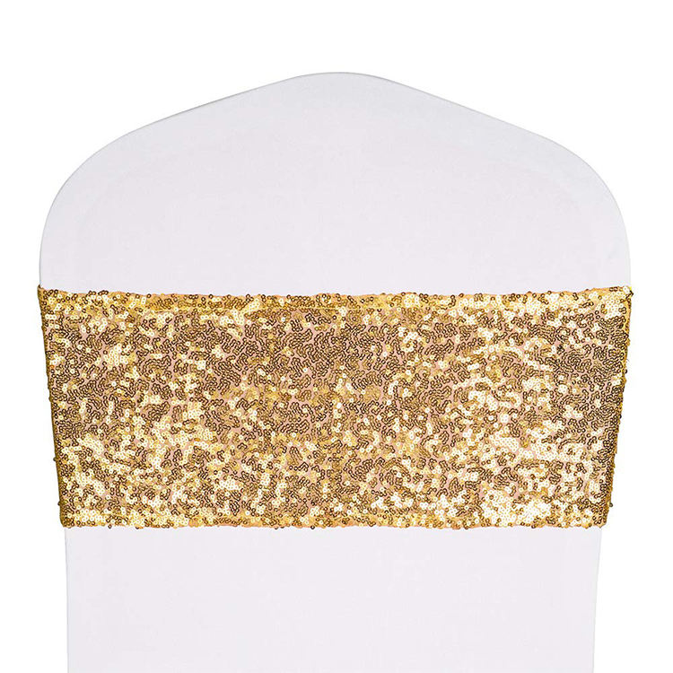 Gold Sparkle Wedding Party Banquet Sequin Stretch Chair Sash Cover Band