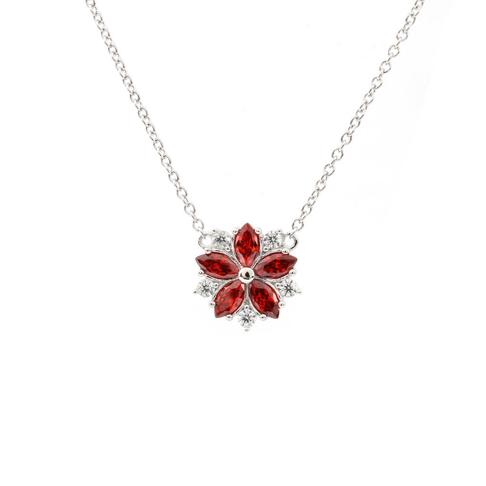 925 Sterling Silver Red Cubic Zirconia Cz Wine Glass Pendant Charm Necklace