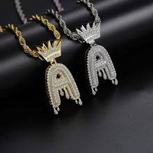 Wholesale Abiding Jewelry Hip Hop Jewelry Custom Brass / 925 Sterling Silver Gold Plate Chains Hip Hop Letter A Pendant