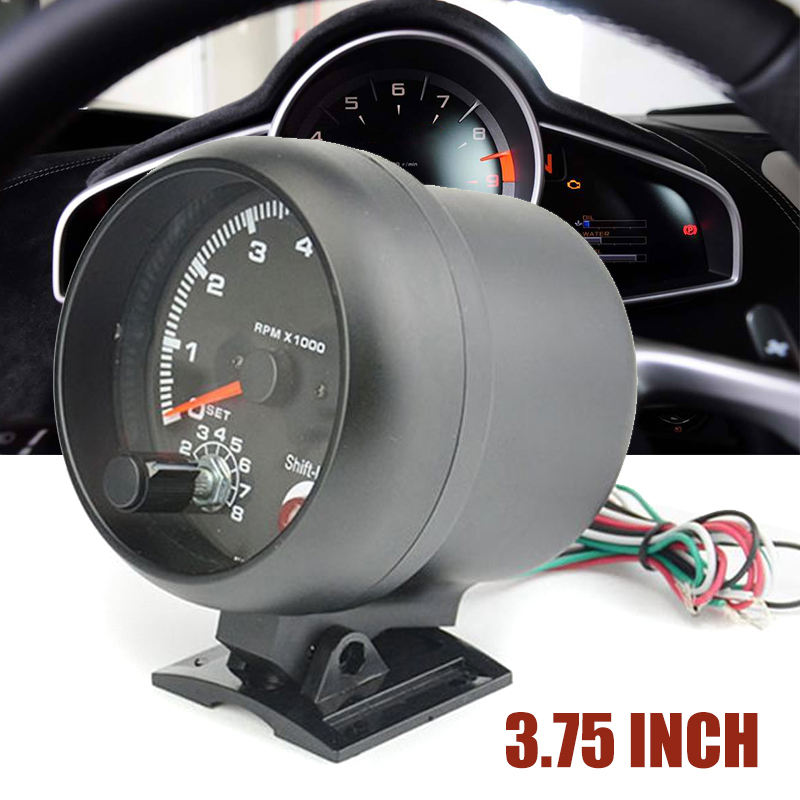 3.75Inch Universal Car Tachometer Tacho Gauge Meter LED Shift Light 0-8000 RPM