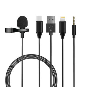 Portable Mini Wired Mike Live Broadcast Mic Condenser Lavalier Lapel Clip Microphone For Smart Mobile Phone Camera