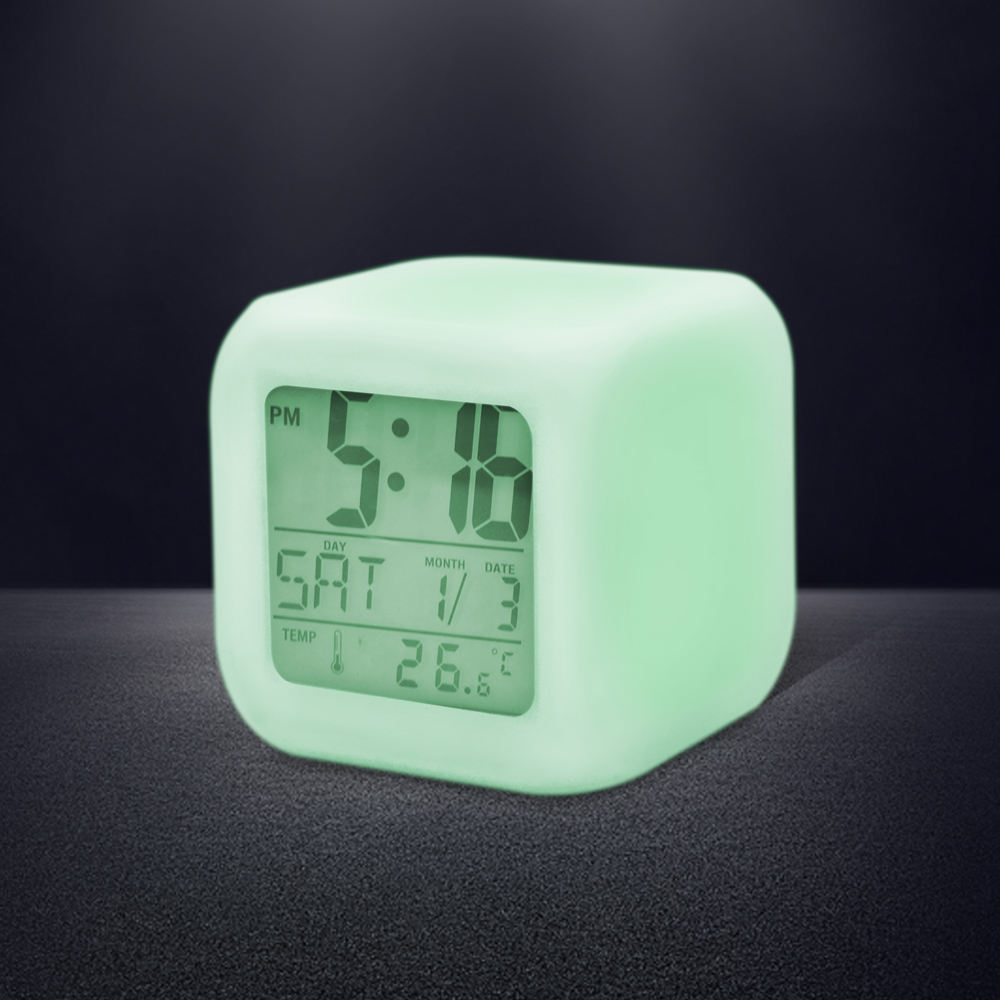 Hips 7 Color Soft NightLight Temperature Display Sleep Timer LED Night Glowing Cube Fit Birthday Gifts Kids Desk Alarm Clock