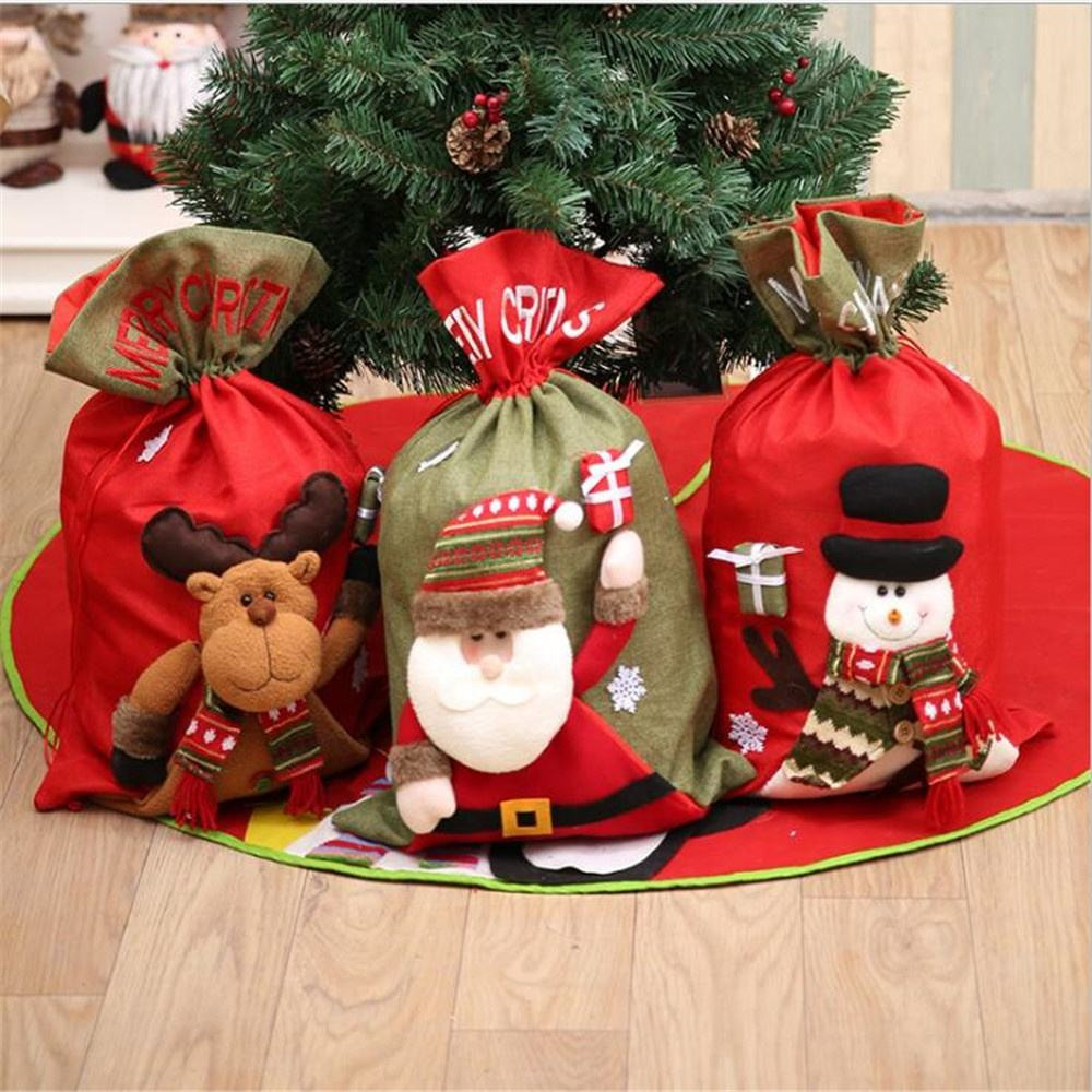 Christmas Party Supplies Christmas Decoration Bags Red Felt Christmas Gifts Bags With Santa Claus Snowman
