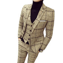 Latest Design Slim Fit 3 Piece Checked Coat Pant Plus Size Office Suit For Men