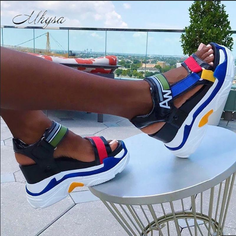 Hot Sales Ankle Strap with Hook Stiletto High Heels Wedges Blue Mixed Colors High Platform Sandals Women's Shoes