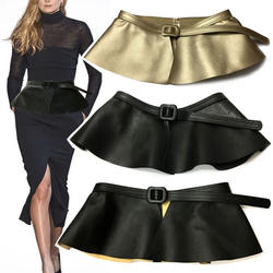 New Trending Woman Wide Gold Black Corset Belt Ladies Fashio