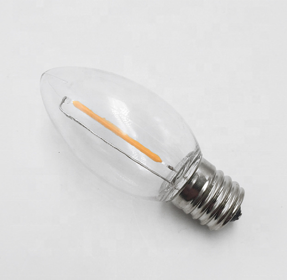 2020 new C9 E17 110V Mini led alambre Replace Balb Christmas Decoration Dimmable 0.7W 1w C9 Filament led candle bulb