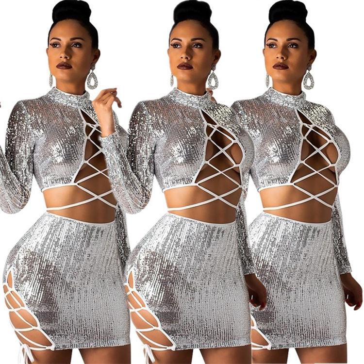 women sexy bondage cleavag sequin crop tops and skirt two piece set clubwear