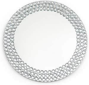 Mirror Charger Plates with Rhinestones for Wedding Decor