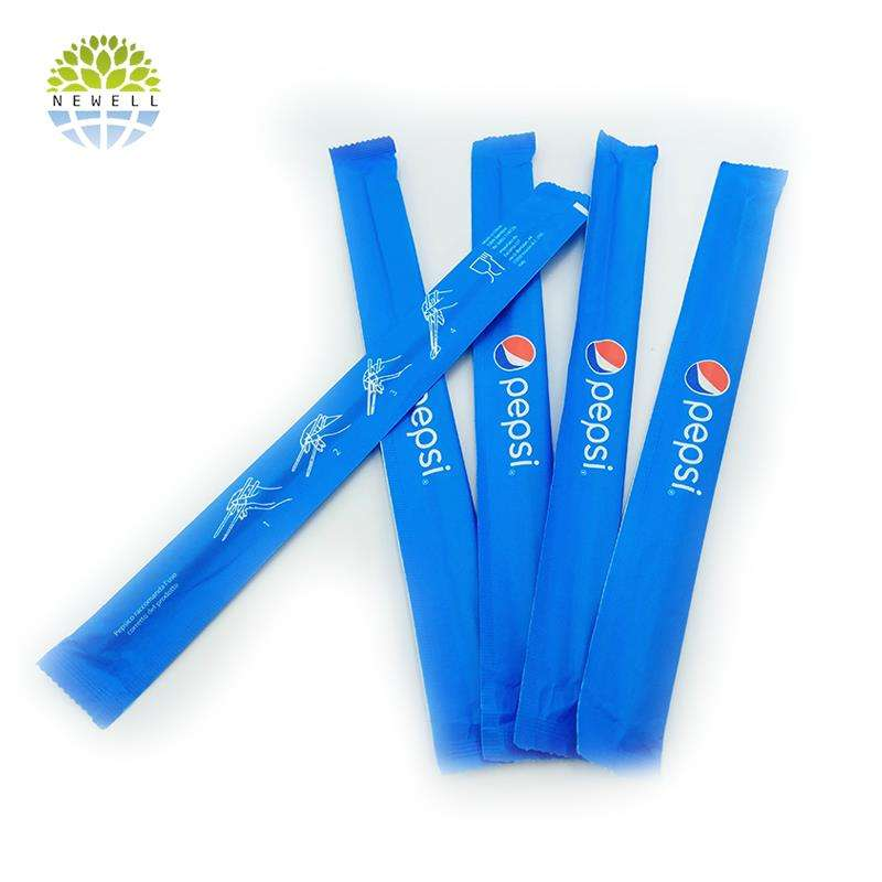 Custom printed 21cm disposable bamboo chopsticks in paper sleeve