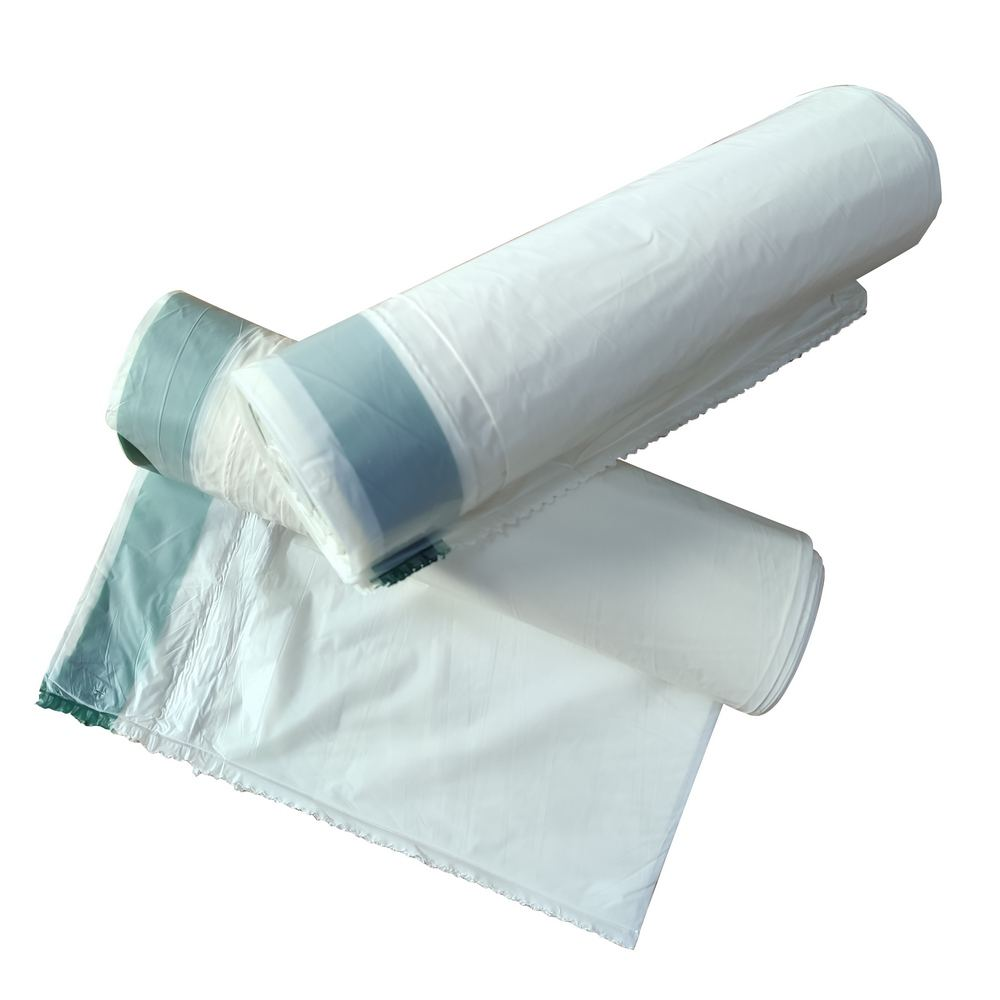 100% biodegradable and compostable trash bags on roll, economy high density draw string trash bag