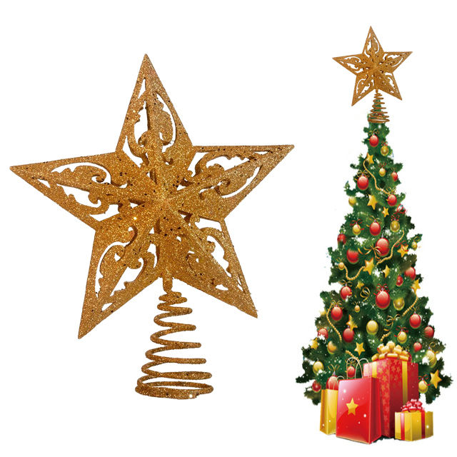 8-Inch Gold Glittered 5 Point Star Treetop Christmas Tree Topper