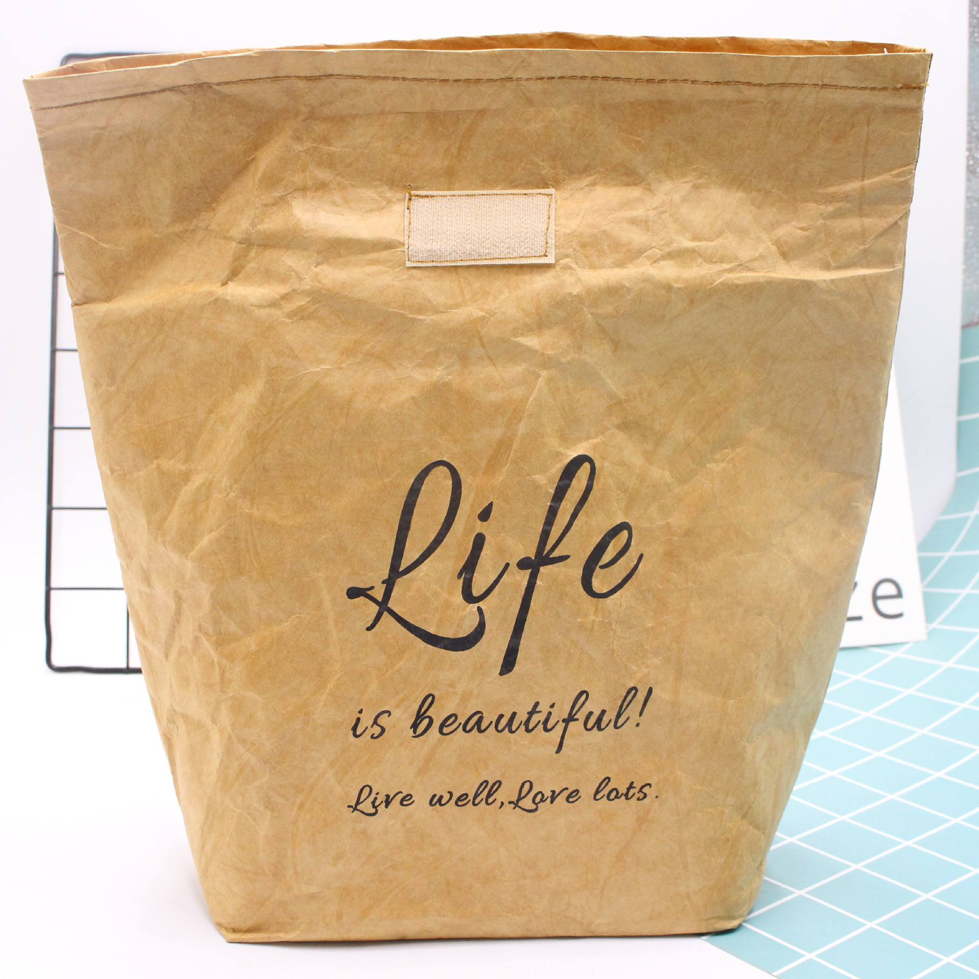 Wholesale Reusable Washable Waterproof Brown Kraft Paper Insulated lunch bag