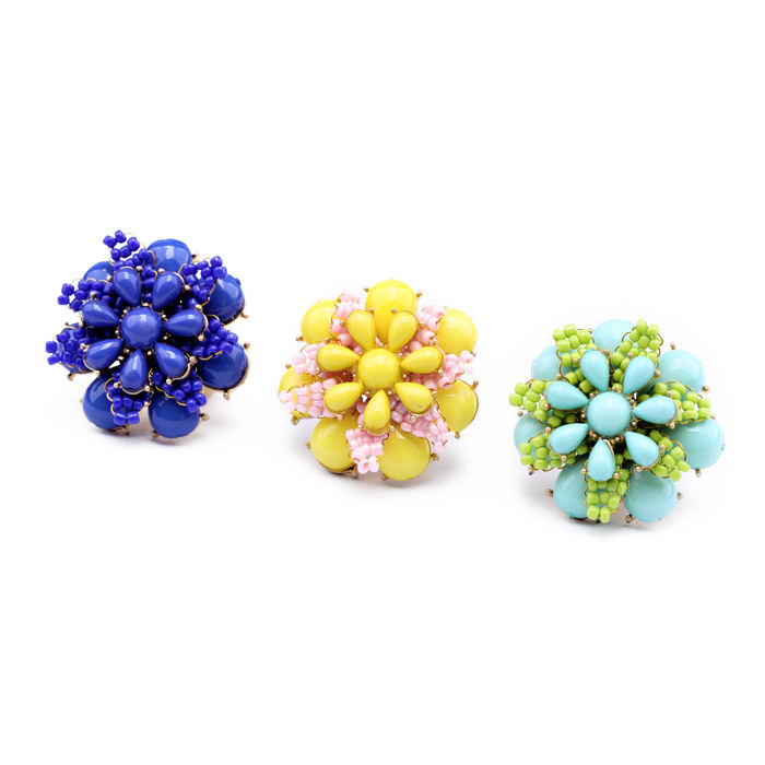 jz00103 Fashion Wholesale India Fancy Blue Yellow Green Flowers Resin Bead Gold Plated Floral Finger Ring