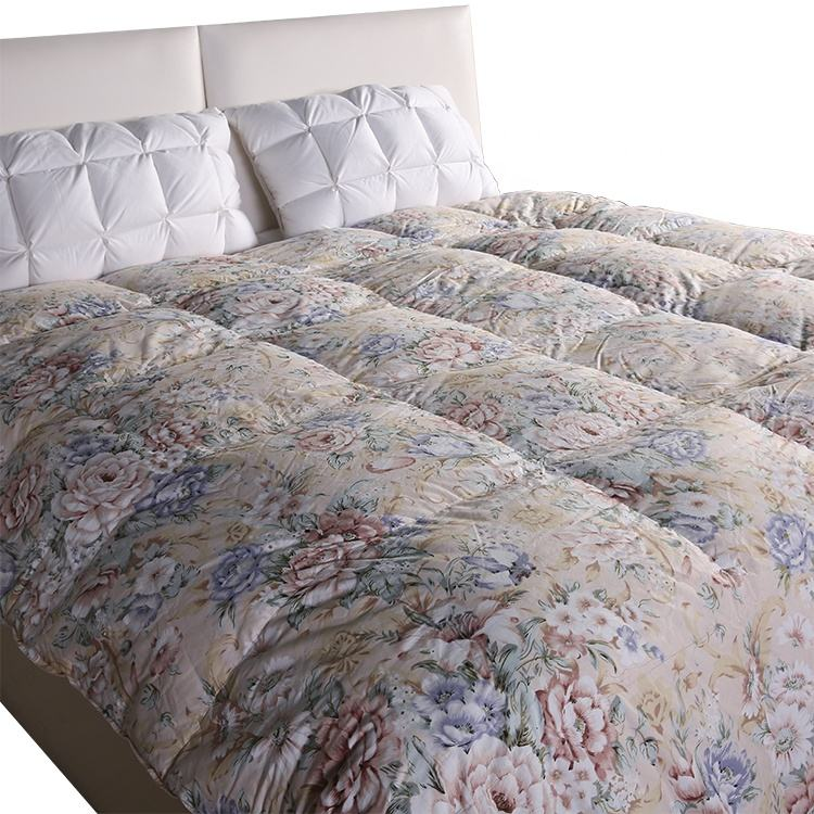 High quality printed duck down bedding duvet 100% cotton quilted comforter