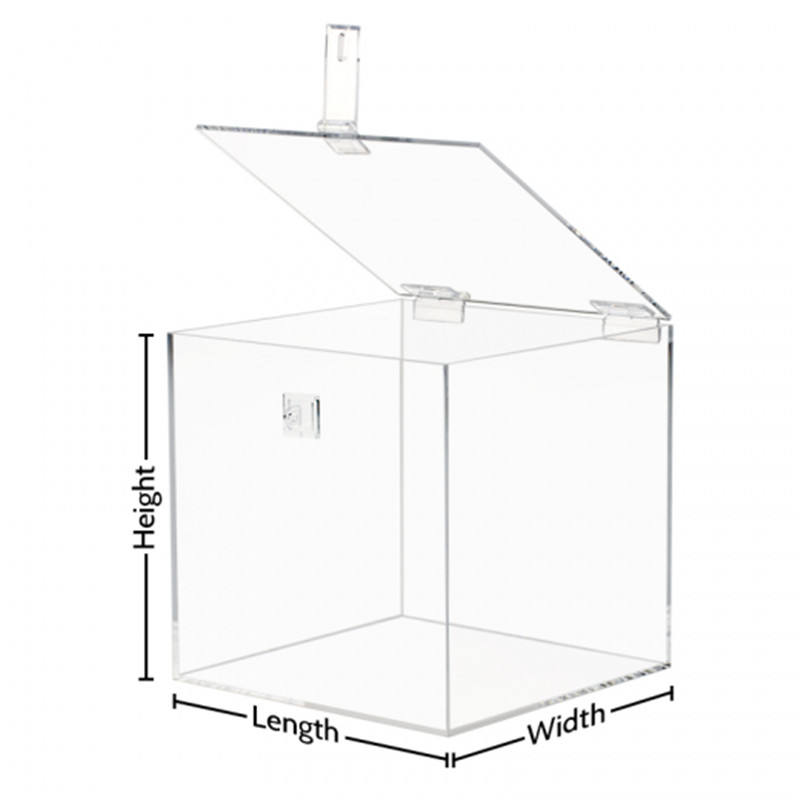 Clear Acrylic Box with Hasp Lock Hinged Lid - Custom Size Multi-functional Design Acrylic Ballot Container