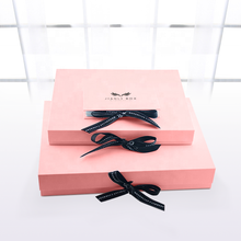 factory custom luxury pink favor ribbon box gift foldable gift box package with ribbon closure  handle and bow