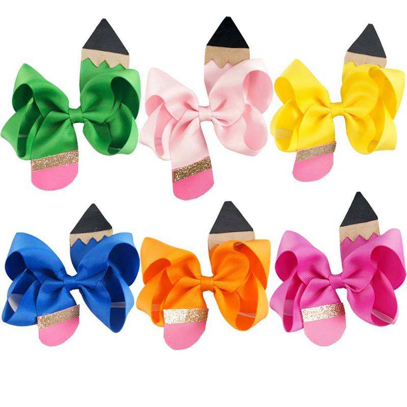 "free 4.5"" Back to School Solid Hair Bows for Girls Pencil Print Ribbons Barrettes Hair Clips Students Hairgrips Hair Accessories"