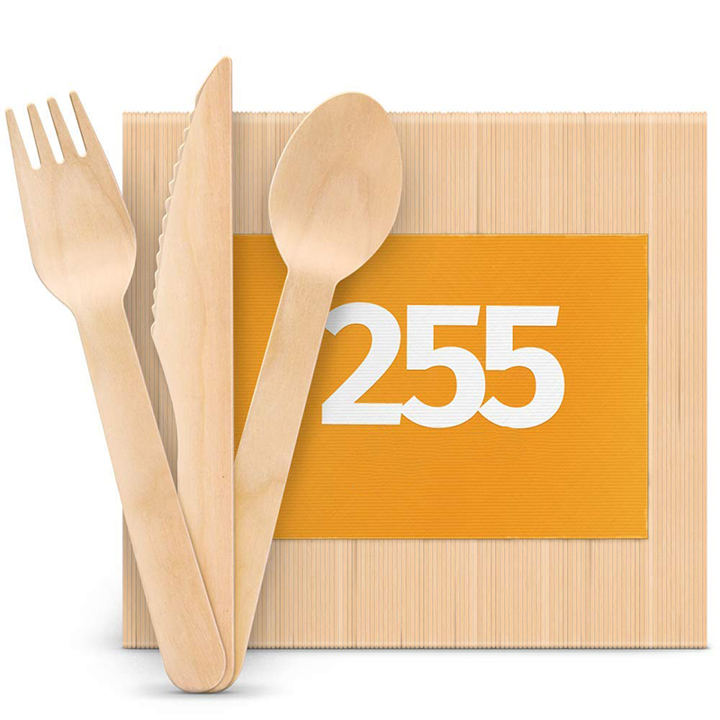 Easily carry high quality custom logo fork and wpoon eco friendly cheap disposable wooden cutlery