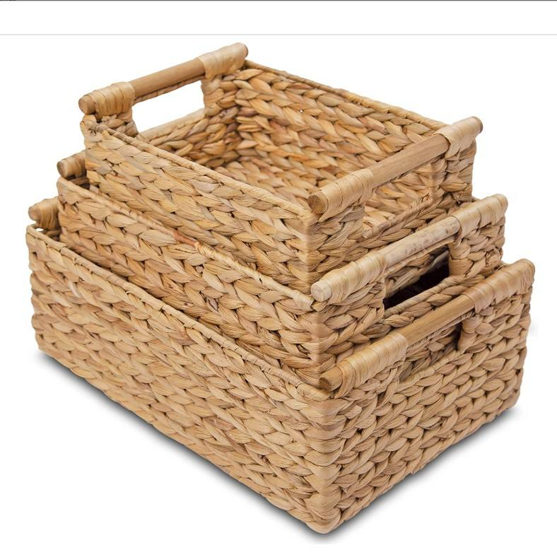 Water Hyacinth Storage Baskets Rectangular with Wooden Handles for Shelves, Natural Wicker Storage Basket Bins