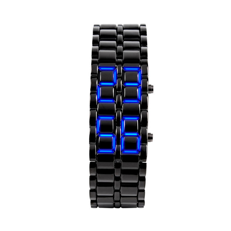 High Quality Alloy Metal Men's Wristband LED Lava Wristwatch