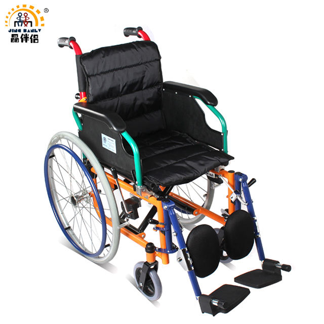 Manual, stainless steel, folding wheelchair for disabled, injured, fractured child. Special leg lifting wheelchair for children