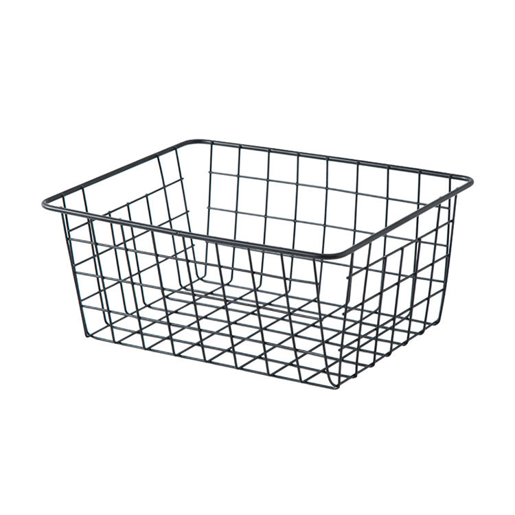 iron metal kitchen home bathroom art storage wire mesh basket multifunctional decorative black and rose gold cosmetic basket