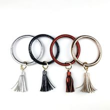Wristlet  Bracelet Bangle  Large Circle Key Ring Leather tassel key bracelet Holder For Women Girl