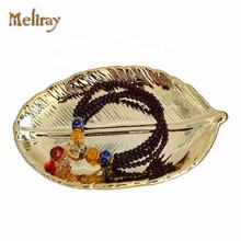 Ceramic Gold Color Maple Leaf Jewelry Trinket Dish for Home Decoration