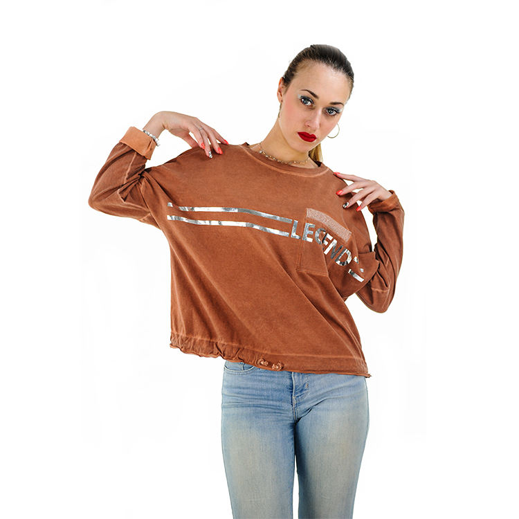 Fashion Loose Crop Tops Crewneck Women Sweatshirt Custom Made It Italy