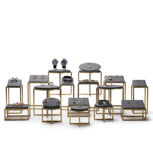 DIGU Grey metal microfiber jewellery display stand exhibitor organizer holder jewelry display set