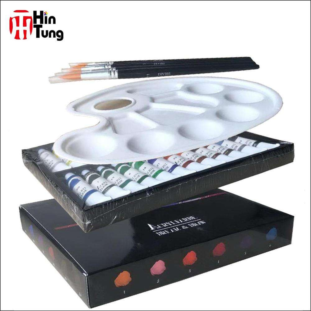24pcs 12ml Acrylic Paint with 5 brushes and 1 plastic palette