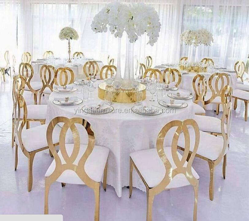 Banquet Furniture Stainless Steel Event Gold Wedding Chair