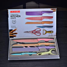 Most Popular 6pcs Non-stick blade Stainless Steel Kitchen Knives Set with Wheat Straw Handle