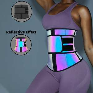 2020 Reflecterende Stof 100% Latex Vrouwen Fitness Tummy Controle Taille Trimmer Afslanken Belt Custom Taille Trainer