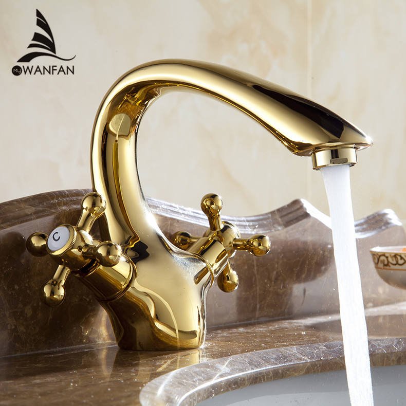 WANFAN Swan Deck Elegant Basin Mixer Tap AL-7311K Residential Presents Single Hole Water Tap Brass Gold Basin Faucet