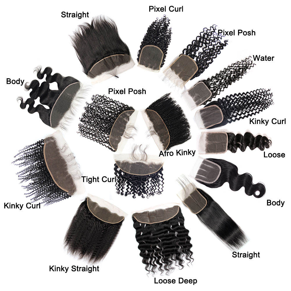 Various textures of human hair closures and frontals