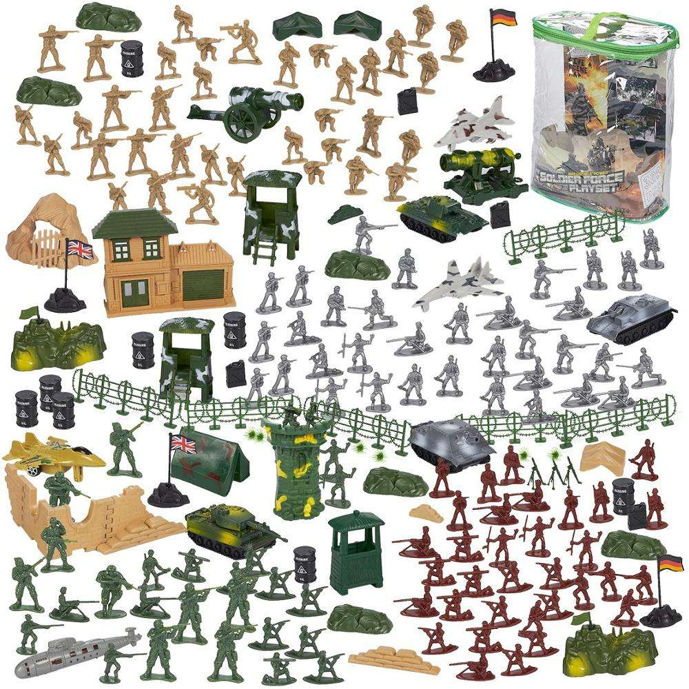 Army Action Figures Set Military Toy Soldier Play Set Tanks Planes Flags Battlefield Accessories Party Display action figure