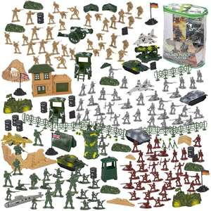 Army Action Figures Set, Military Toy Soldier Play Set Tanks, Planes, Flags Battlefield Accessories Party Display