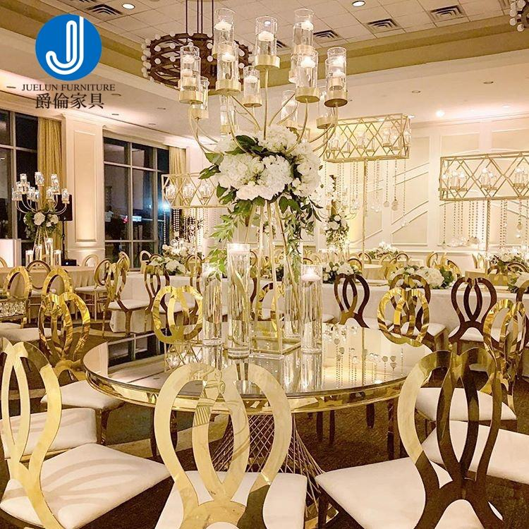 Hotel Event furniture mirror glass gold stainless steel wedding round table for wedding