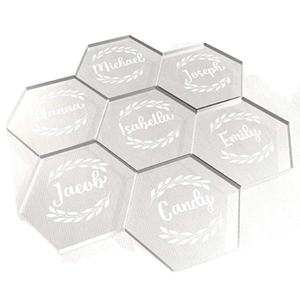 Custom Round Square Hexagon and Irregular Clear Acrylic Cocktail Coasters