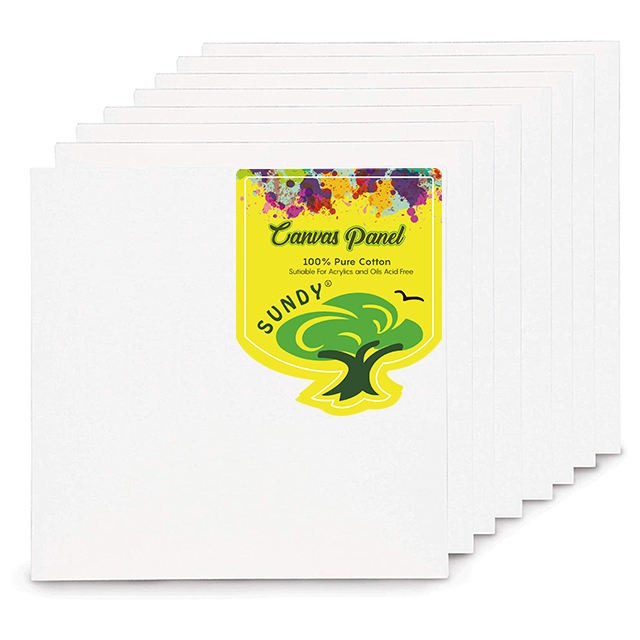 "Blank art canvas board 100 cotton 3mm Canvas Panels for painting (8"" x 8"") Pack of 8"