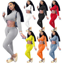 2021 Clothing Women Newest spring autumn solid color crop Top Draped Pants Women Two Piece stacked pants Set