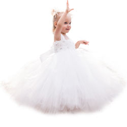 Ivory Flower Girl Tutu Dress for Baby Toddler Girls Wedding Birthday Party Princess Dresses
