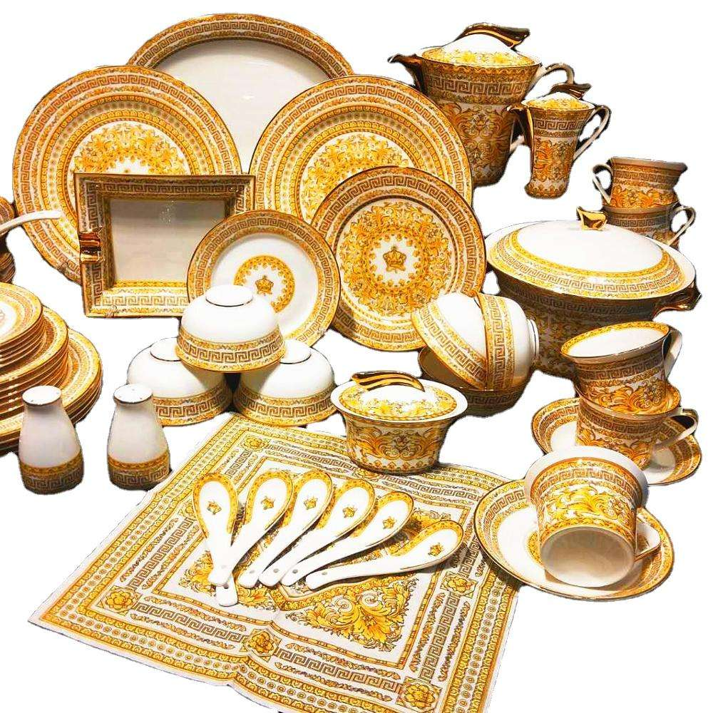 Popular Royal Style Dinner Sets High Quality Fine Bone China Dinnerware Sets