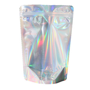 Clear Window Holografische Ziplock Zak Zilver Stand Up Pouch