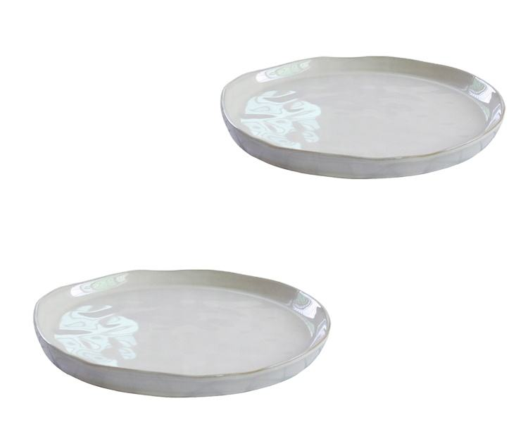 European style dinnerware irregular plate restaurant salad bowl white dinner set