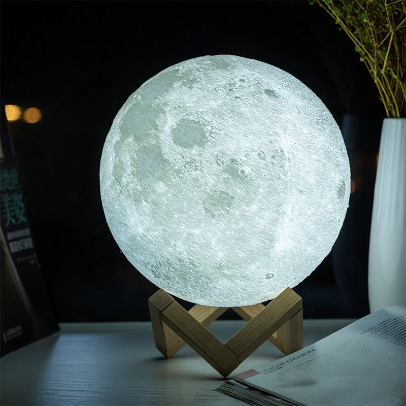 Litwow Dropshipping 3D Printing Moon Night Light Rechargeable Touch Dimmable Remote Controller 16colors Moon Lamp of Home Decor