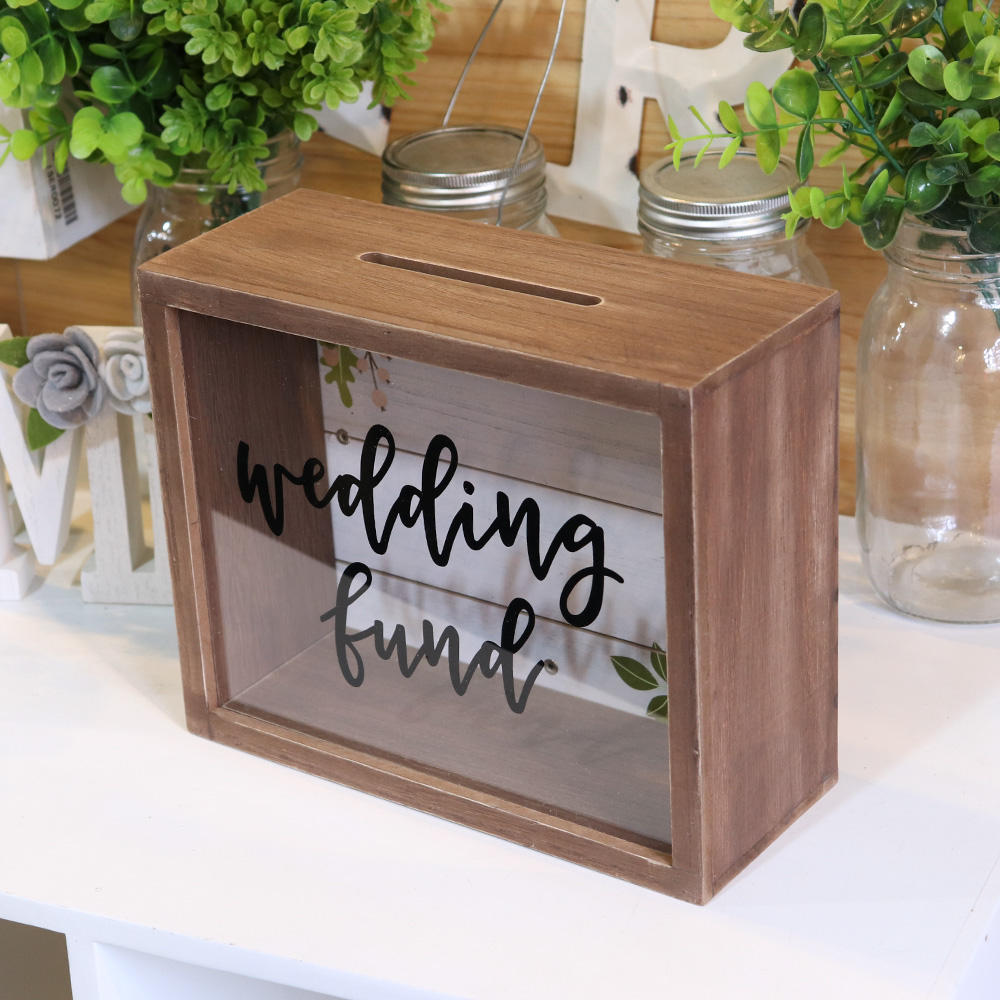 Wall Decor Wood Decoration Plain Acryl Wedding Wooden Box for Money Saving